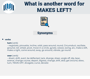 makes left, synonym makes left, another word for makes left, words like makes left, thesaurus makes left