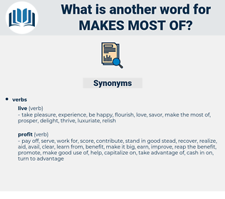 makes most of, synonym makes most of, another word for makes most of, words like makes most of, thesaurus makes most of