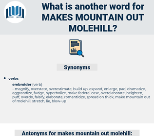 makes mountain out molehill, synonym makes mountain out molehill, another word for makes mountain out molehill, words like makes mountain out molehill, thesaurus makes mountain out molehill