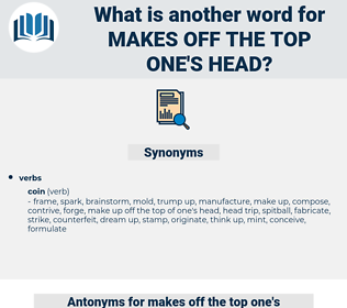 makes off the top one's head, synonym makes off the top one's head, another word for makes off the top one's head, words like makes off the top one's head, thesaurus makes off the top one's head