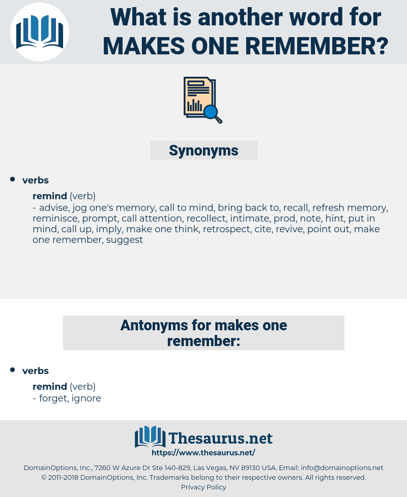 makes one remember, synonym makes one remember, another word for makes one remember, words like makes one remember, thesaurus makes one remember