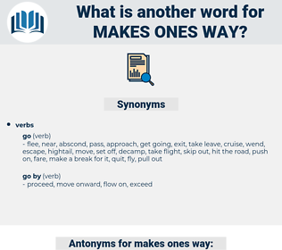 makes ones way, synonym makes ones way, another word for makes ones way, words like makes ones way, thesaurus makes ones way