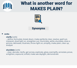 makes plain, synonym makes plain, another word for makes plain, words like makes plain, thesaurus makes plain