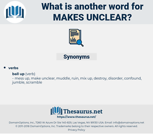 makes unclear, synonym makes unclear, another word for makes unclear, words like makes unclear, thesaurus makes unclear