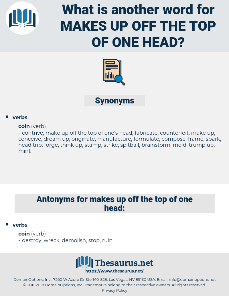 makes up off the top of one head, synonym makes up off the top of one head, another word for makes up off the top of one head, words like makes up off the top of one head, thesaurus makes up off the top of one head