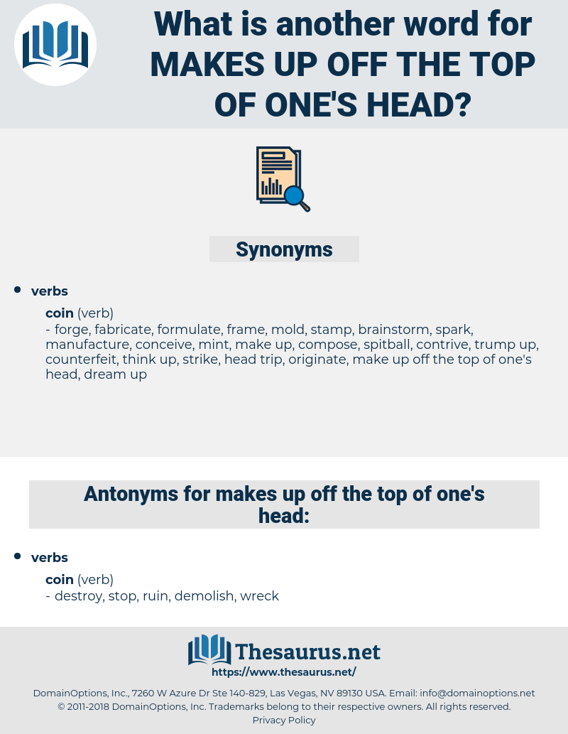 makes up off the top of one's head, synonym makes up off the top of one's head, another word for makes up off the top of one's head, words like makes up off the top of one's head, thesaurus makes up off the top of one's head