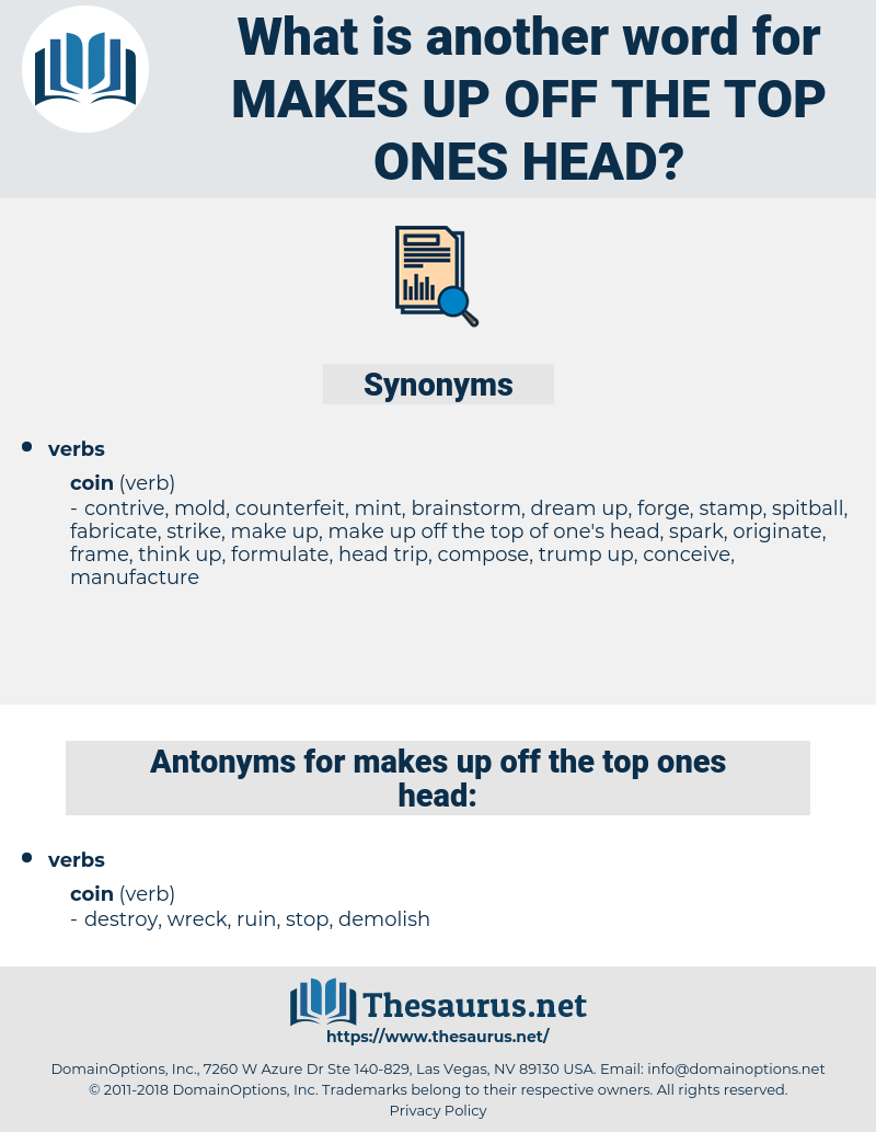 makes up off the top ones head, synonym makes up off the top ones head, another word for makes up off the top ones head, words like makes up off the top ones head, thesaurus makes up off the top ones head