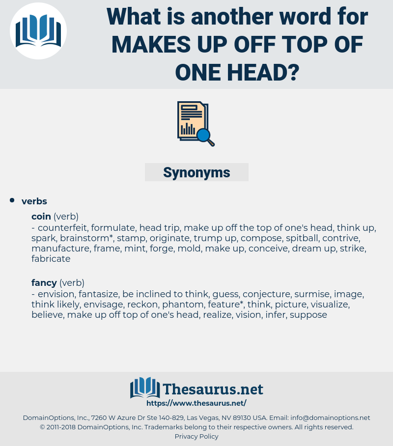 makes up off top of one head, synonym makes up off top of one head, another word for makes up off top of one head, words like makes up off top of one head, thesaurus makes up off top of one head