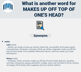 makes up off top of one's head, synonym makes up off top of one's head, another word for makes up off top of one's head, words like makes up off top of one's head, thesaurus makes up off top of one's head