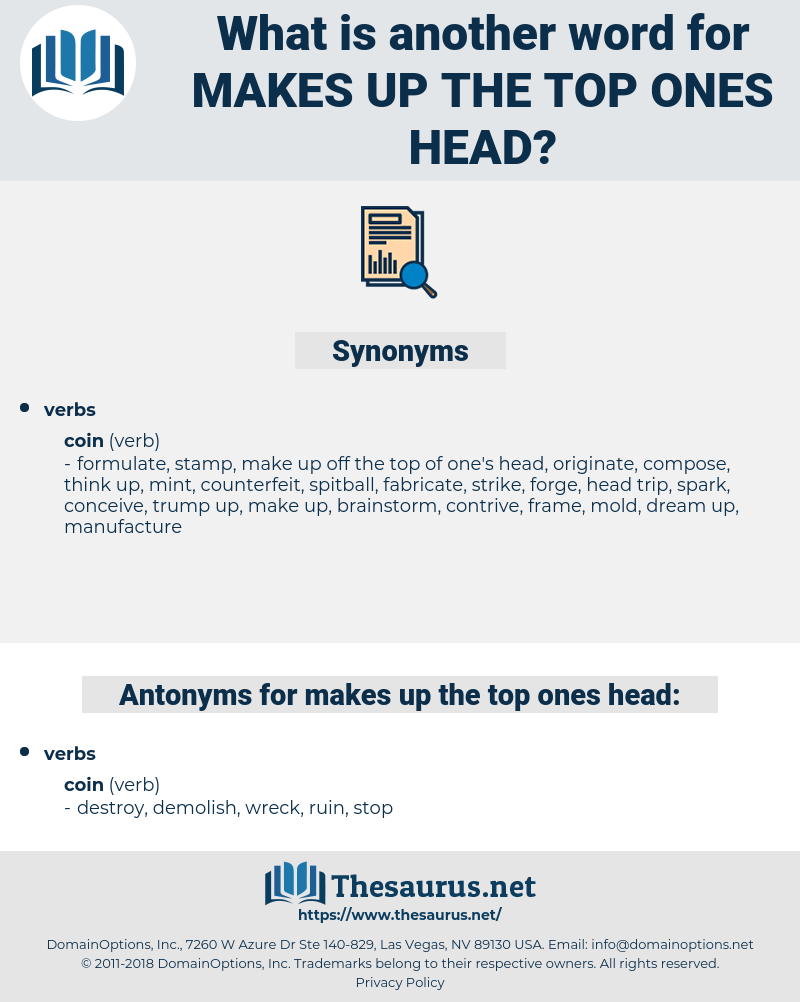 makes up the top ones head, synonym makes up the top ones head, another word for makes up the top ones head, words like makes up the top ones head, thesaurus makes up the top ones head