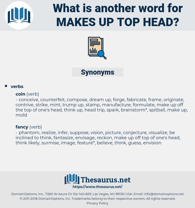 makes up top head, synonym makes up top head, another word for makes up top head, words like makes up top head, thesaurus makes up top head