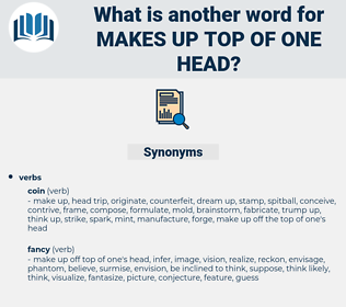 makes up top of one head, synonym makes up top of one head, another word for makes up top of one head, words like makes up top of one head, thesaurus makes up top of one head