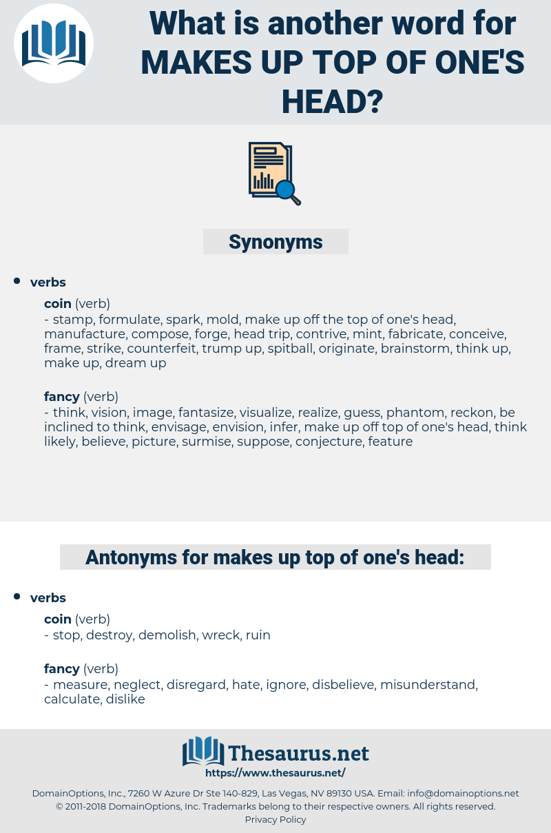 makes up top of one's head, synonym makes up top of one's head, another word for makes up top of one's head, words like makes up top of one's head, thesaurus makes up top of one's head