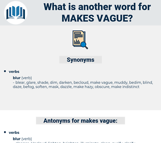 makes vague, synonym makes vague, another word for makes vague, words like makes vague, thesaurus makes vague