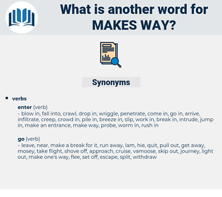 makes way, synonym makes way, another word for makes way, words like makes way, thesaurus makes way