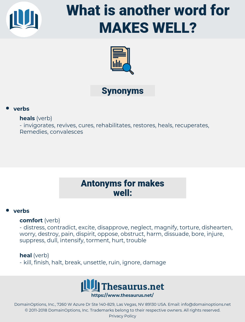 makes well, synonym makes well, another word for makes well, words like makes well, thesaurus makes well