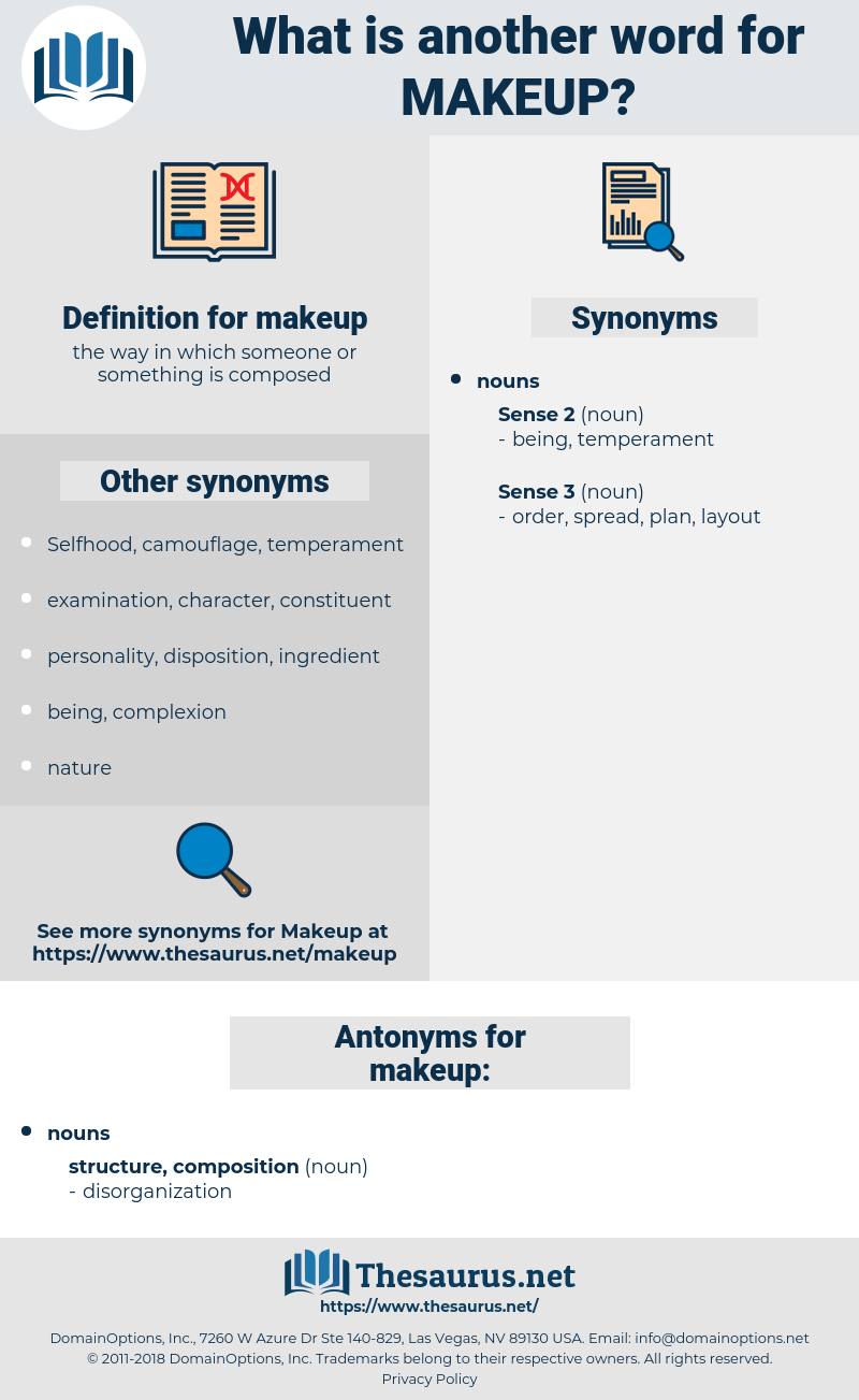 Synonyms For Makeup Antonyms For Makeup Thesaurus Net