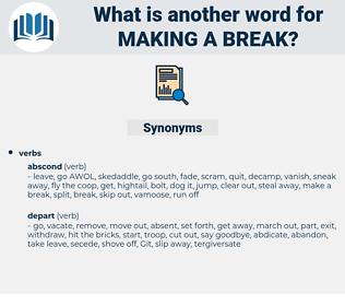 making a break, synonym making a break, another word for making a break, words like making a break, thesaurus making a break
