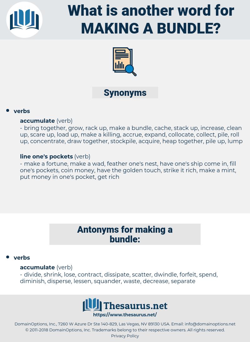 making a bundle, synonym making a bundle, another word for making a bundle, words like making a bundle, thesaurus making a bundle