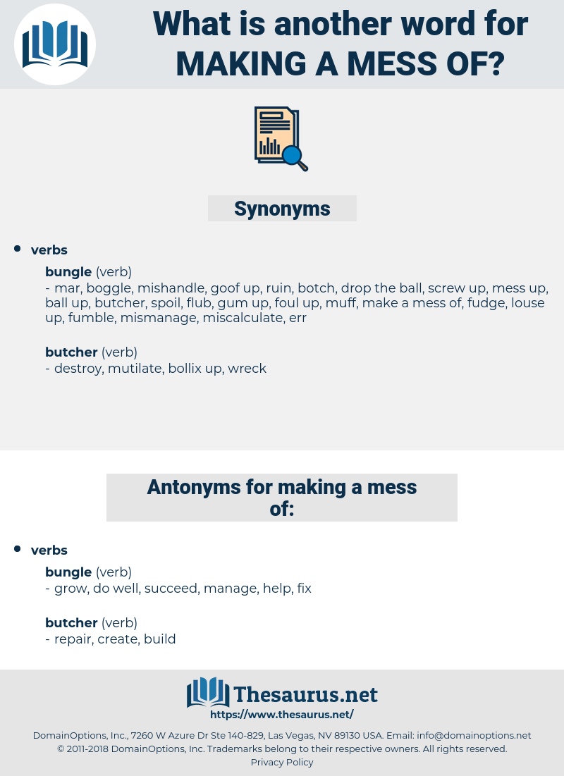 making a mess of, synonym making a mess of, another word for making a mess of, words like making a mess of, thesaurus making a mess of