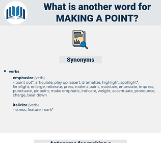 making a point, synonym making a point, another word for making a point, words like making a point, thesaurus making a point