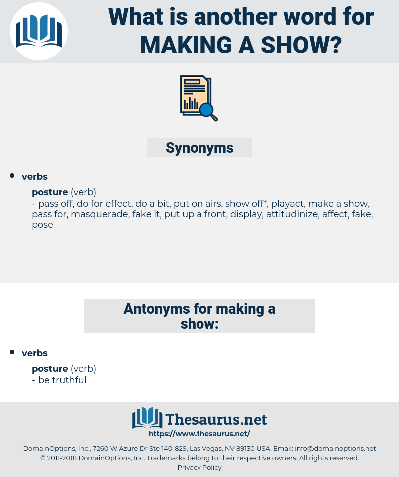 making a show, synonym making a show, another word for making a show, words like making a show, thesaurus making a show