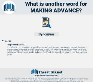 making advance, synonym making advance, another word for making advance, words like making advance, thesaurus making advance