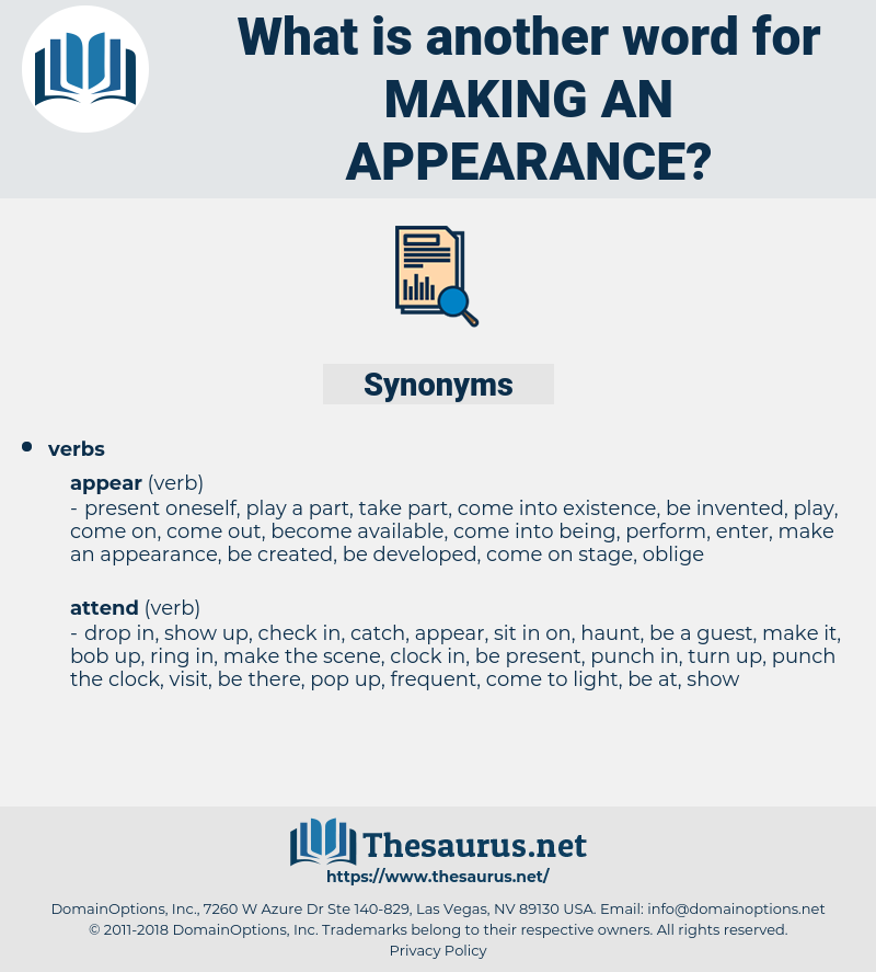 making an appearance, synonym making an appearance, another word for making an appearance, words like making an appearance, thesaurus making an appearance