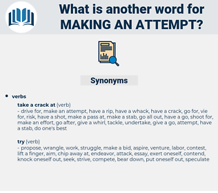 making an attempt, synonym making an attempt, another word for making an attempt, words like making an attempt, thesaurus making an attempt