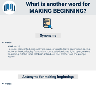 making beginning, synonym making beginning, another word for making beginning, words like making beginning, thesaurus making beginning