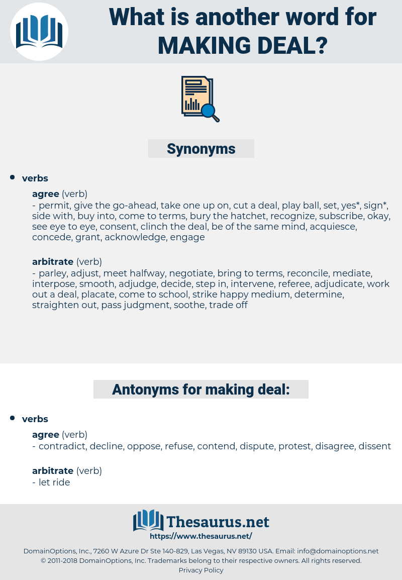 making deal, synonym making deal, another word for making deal, words like making deal, thesaurus making deal