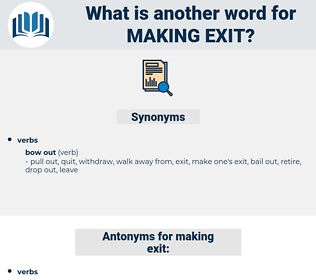 making exit, synonym making exit, another word for making exit, words like making exit, thesaurus making exit