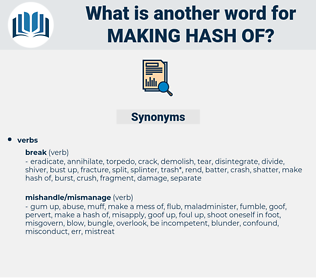 making hash of, synonym making hash of, another word for making hash of, words like making hash of, thesaurus making hash of