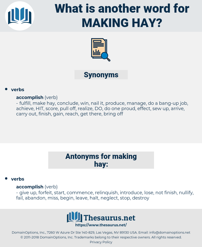 making hay, synonym making hay, another word for making hay, words like making hay, thesaurus making hay