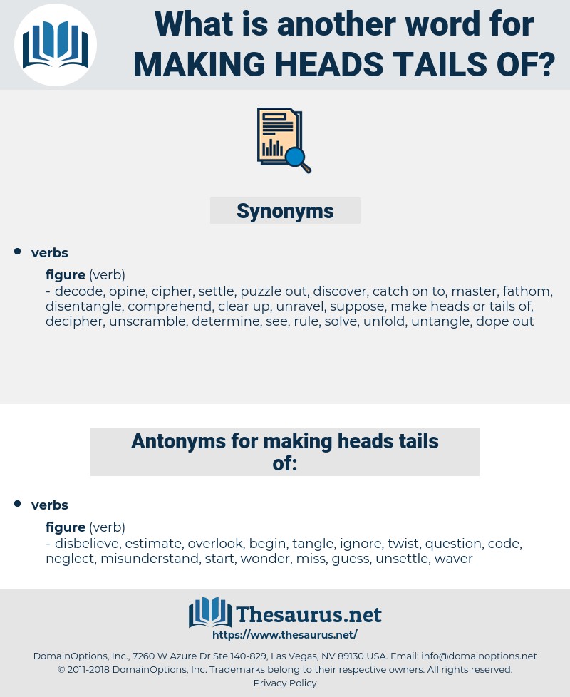 making heads tails of, synonym making heads tails of, another word for making heads tails of, words like making heads tails of, thesaurus making heads tails of