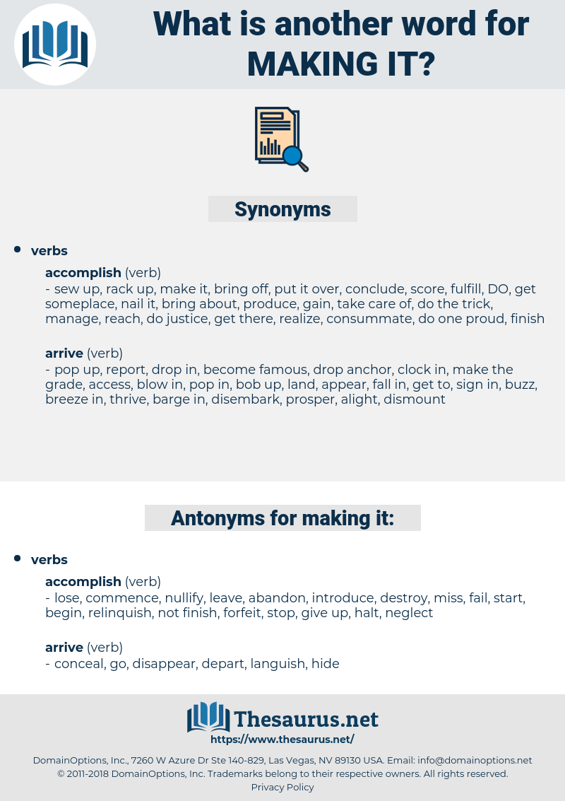 making it, synonym making it, another word for making it, words like making it, thesaurus making it