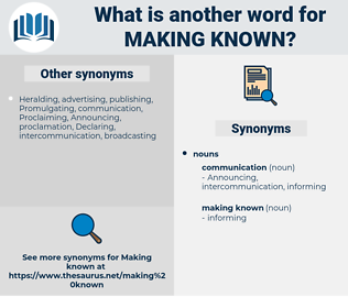 making known, synonym making known, another word for making known, words like making known, thesaurus making known