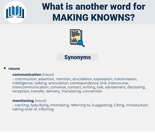 making knowns, synonym making knowns, another word for making knowns, words like making knowns, thesaurus making knowns