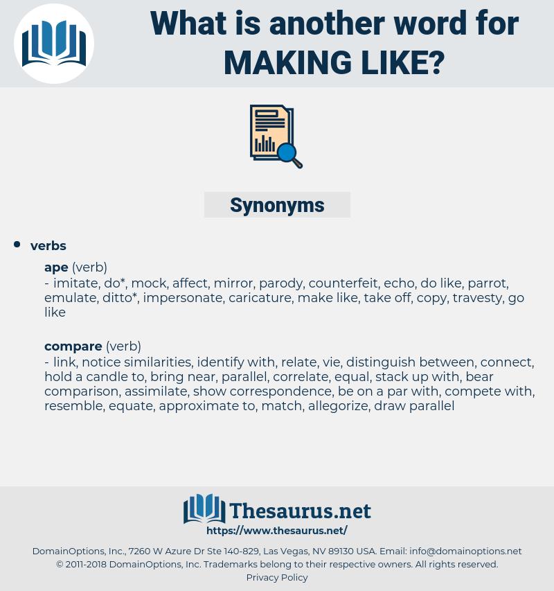 making like, synonym making like, another word for making like, words like making like, thesaurus making like