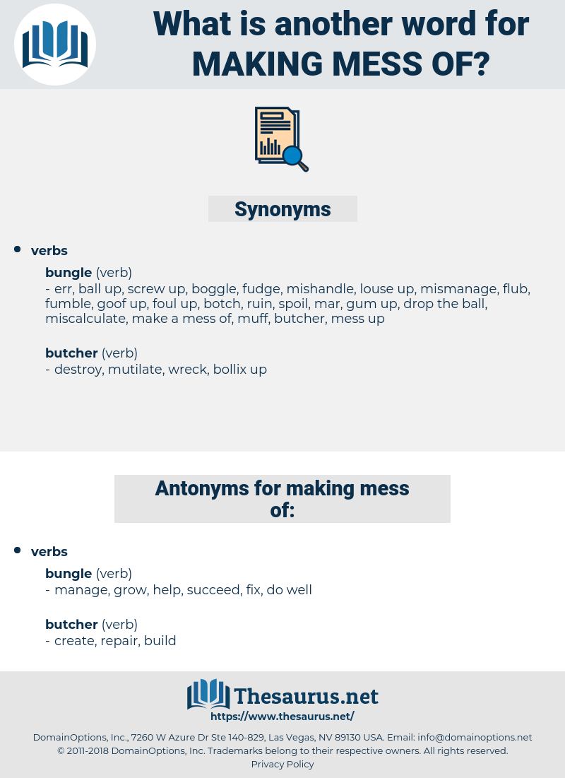 making mess of, synonym making mess of, another word for making mess of, words like making mess of, thesaurus making mess of