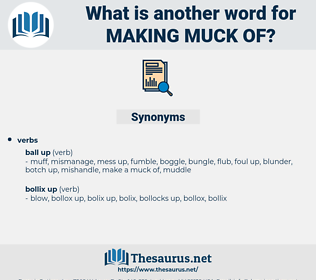 making muck of, synonym making muck of, another word for making muck of, words like making muck of, thesaurus making muck of