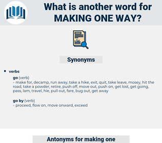 making one way, synonym making one way, another word for making one way, words like making one way, thesaurus making one way
