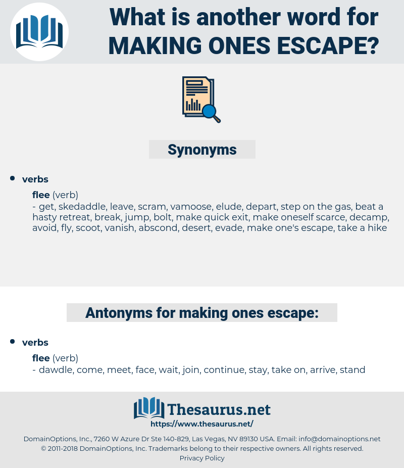 making ones escape, synonym making ones escape, another word for making ones escape, words like making ones escape, thesaurus making ones escape