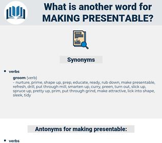 making presentable, synonym making presentable, another word for making presentable, words like making presentable, thesaurus making presentable