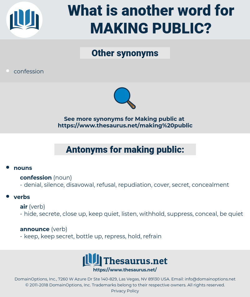 making public, synonym making public, another word for making public, words like making public, thesaurus making public
