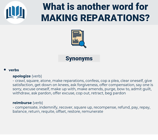 making reparations, synonym making reparations, another word for making reparations, words like making reparations, thesaurus making reparations