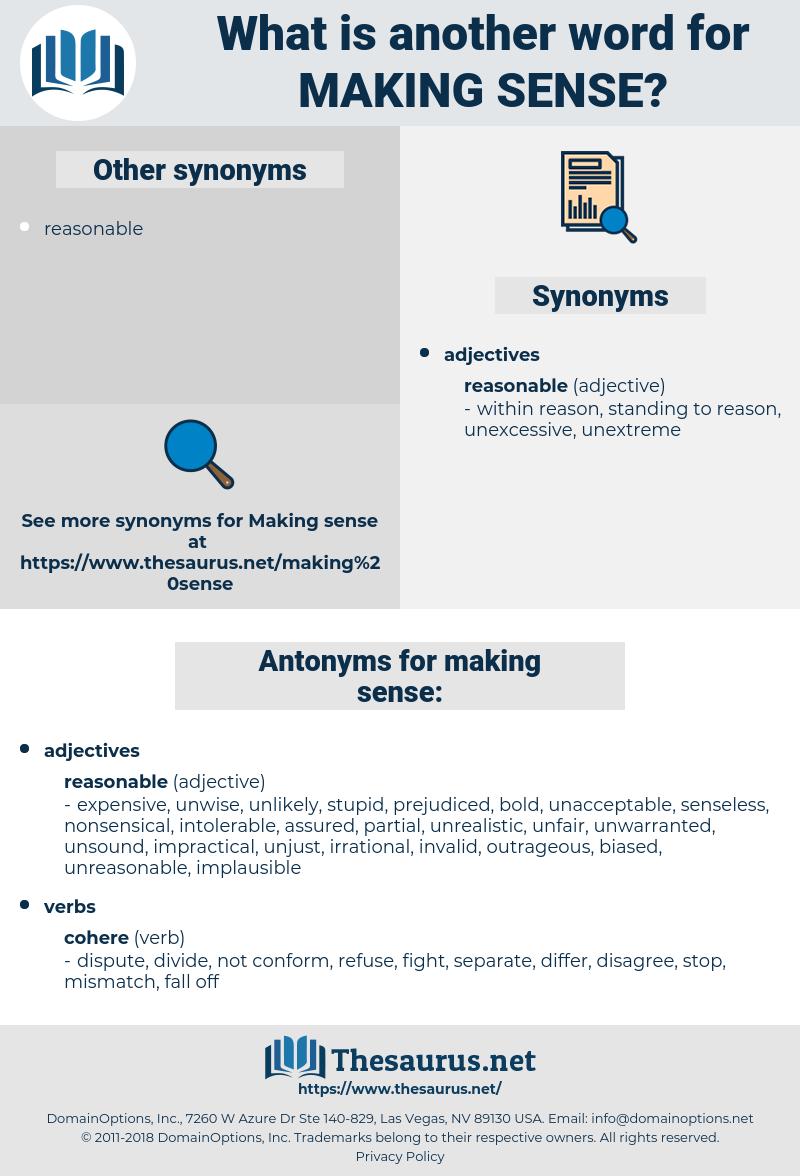 making sense, synonym making sense, another word for making sense, words like making sense, thesaurus making sense