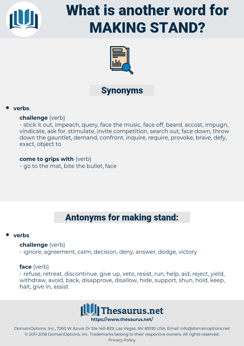 making stand, synonym making stand, another word for making stand, words like making stand, thesaurus making stand