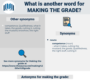 making the grade, synonym making the grade, another word for making the grade, words like making the grade, thesaurus making the grade