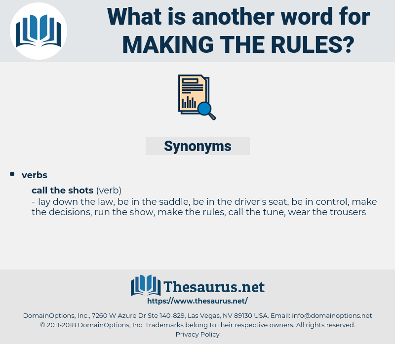 making the rules, synonym making the rules, another word for making the rules, words like making the rules, thesaurus making the rules